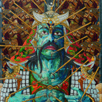 "<span class=""link fancybox-details-link""><a href=""/exhibitions/121/works/artworks4002/"">View Detail Page</a></span><div class=""artist""><strong>Ali Akbar Sadeghi</strong></div><div class=""title""><em>Satan & Soul 06 </em></div><div class=""medium"">Acrylic on Canvas </div><div class=""dimensions"">150 x 100 cm<br>59 1/8 x 39 3/8 in</div>"