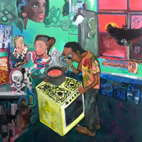 "<span class=""link fancybox-details-link""><a href=""/exhibitions/92/works/artworks2756/"">View Detail Page</a></span><div class=""artist""><strong>Sadra Baniasadi</strong></div><div class=""title""><em>The Kitchen</em>, 2017</div><div class=""medium"">Acrylic on Board</div><div class=""dimensions"">70 x 60 cm<br>27 1/2 x 23 5/8 in</div>"