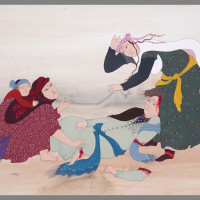 "<span class=""link fancybox-details-link""><a href=""/exhibitions/121/works/artworks3999/"">View Detail Page</a></span><div class=""artist""><strong>Farah Ossouli</strong></div><div class=""title"">Untitled , 1985</div><div class=""medium"">Gouache on Cardboard </div><div class=""dimensions"">34.5 x 49.5 cm<br>13 5/8 x 19 1/2 in</div>"