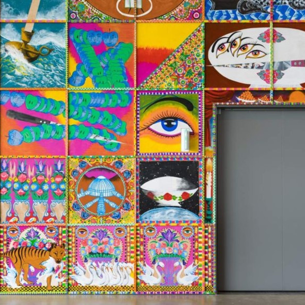 Iman Raad's massive mural in the gallery's foyer is inspired by the colourful trucks and buses of South Asia.(Supplied: QAGOMA/Natasha Harth)