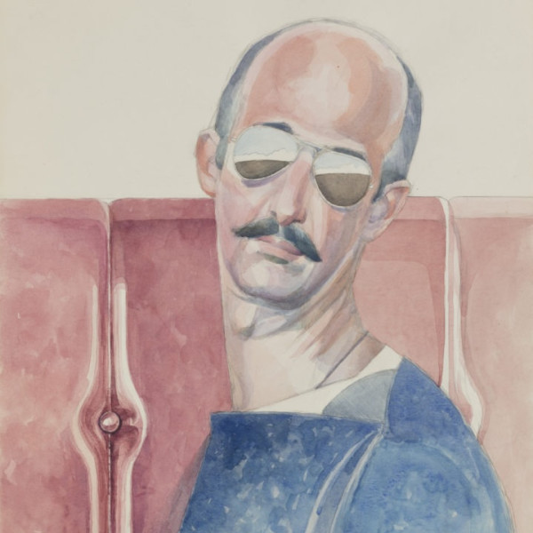 Bijan Saffari. Self-Portrait. 1980. Watercolor on Paper. 45.5 x 32 cm. (Courtesy of the Artist and Dastan's Gallery)