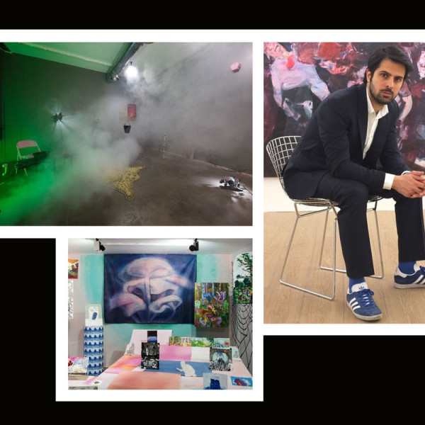 "Clockwise from left: Installation view of Amin Akbari, ""Unsafe Zone/Domestic Production"" at Electric Room, 2018; portrait of Hormoz Hemmatian; installation view of ""A Camp"" at Dastan Gallery, 2017. All Courtesy of Dastan Gallery."