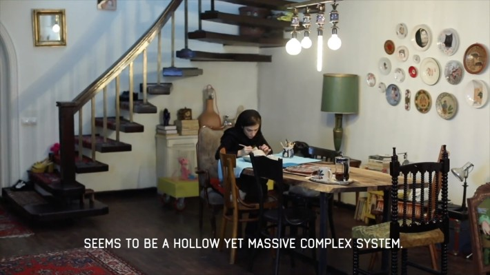 "Hoda Zarbaf at her Studio in Tehran. Still from the video ""Continuity+Contrast"" by Alborz Kazemi."
