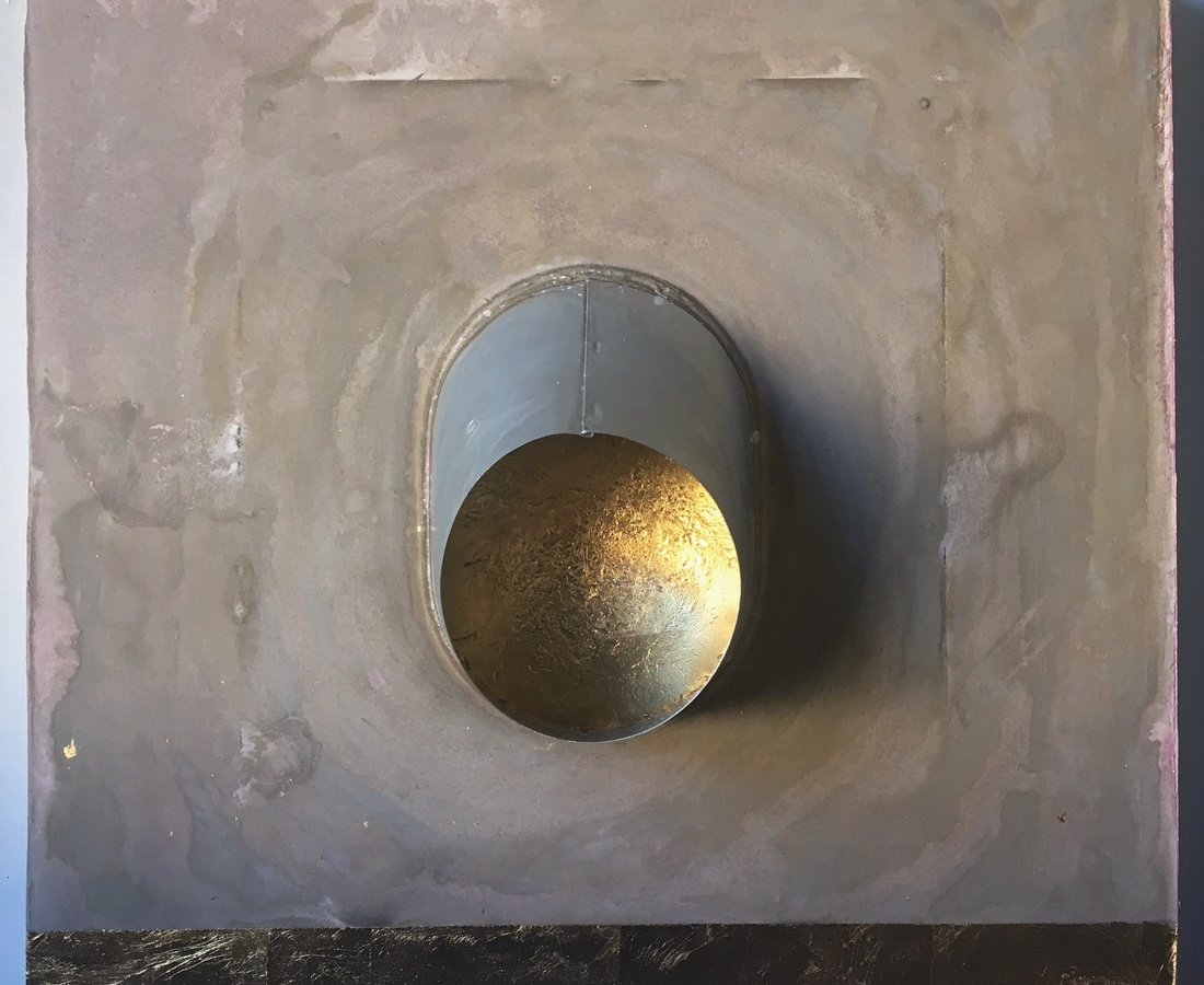 Peephole Gold, 2017  cement, fabric, gold leaf, tin on wood  61 x 61 cm