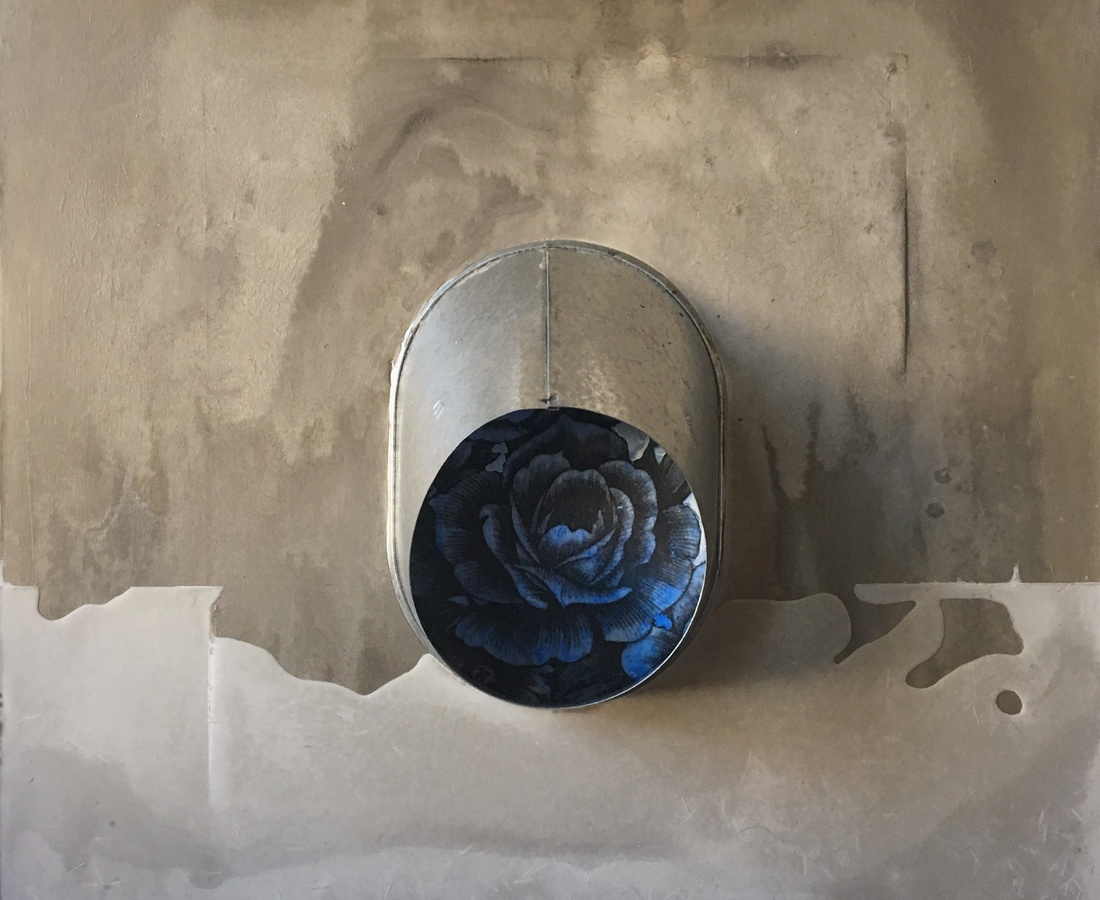 Peephole China Blue, 2017  cement, fabric, gold leaf, tin on wood  61 x 61 cm