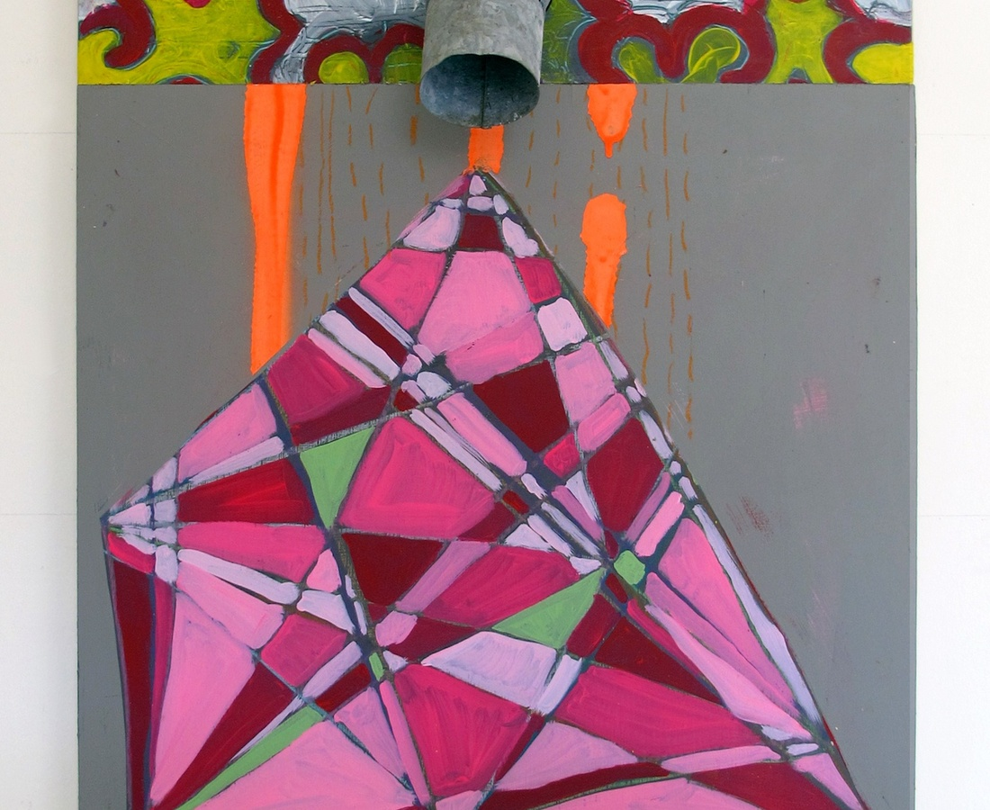 Pink Triangle, 2017  acrylic, oil, spray paint, cement, tin on wood  86 x 61 cm